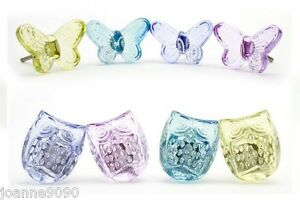 CLEAR GLASS BUTTERFLY DOOR KNOB / DRAWER HANDLES PULLS RETRO HOME ...