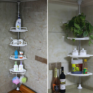 NON-RUST-BATHROOM-TELESCOPIC-CORNER-SHELF-STORAGE-4-TIER-SHOWER-ORGANISER-White