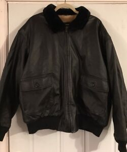 463f26880 Details about AIRBORNE Navy G1 Flight LEATHER Bomber JACKET Mens Size XL  Black lined