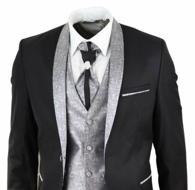 Costume homme 4 pièces pour mariage marié col châle vintage noir argenté