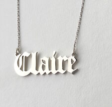 Personalizzata OLD ENGLISH font COLLANA,925 Argento Sterling, scegliere qualsiasi nome