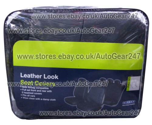 Universal Black Leather Look Front Rear Car Seat Covers Set Airbag Compatible