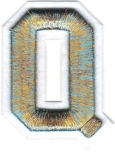 "2/"" x 2 1//2/"" Metallic Gold White 3D Raised Letter D Patch"