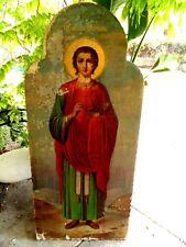 19C Large Antique Russia Russian Church St Healer Panteleimon Icon 64 x 28 inch