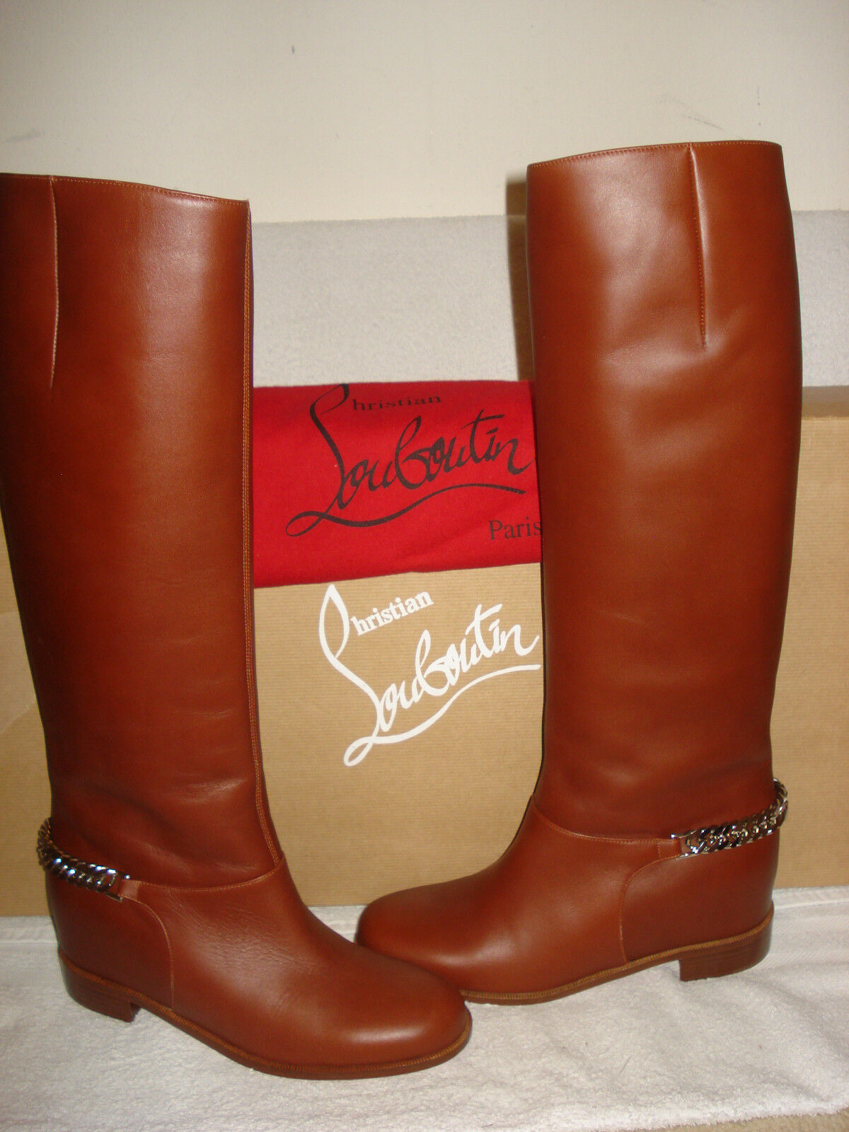 fb22e845e9d4 100 Auth Women Louboutin Cate Flat Chain Boot Brown Knee BOOTS US 7 for  sale online