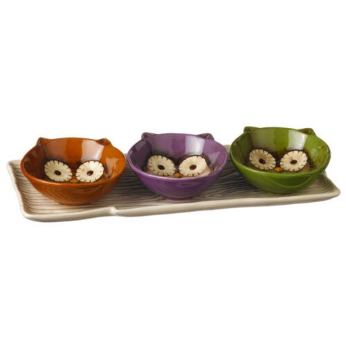 469445 Faux Bois Serving Tree Tray with 3 Owl Bowls Crimson Hollow Kitchen