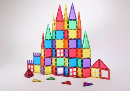 Magnetic Tiles UK 65 Rainbow Shapes kids STEM building toy Magna Playmags