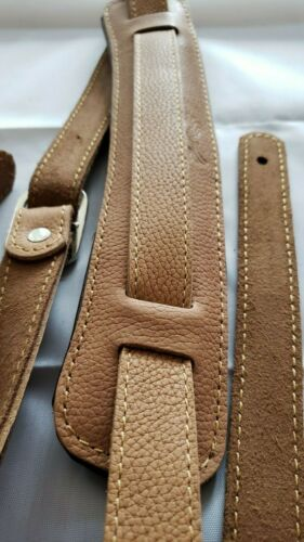 SLASH Vintage Style Leather Adjustable Guitar Strap in TEXTURED TAN! USA SHIP!