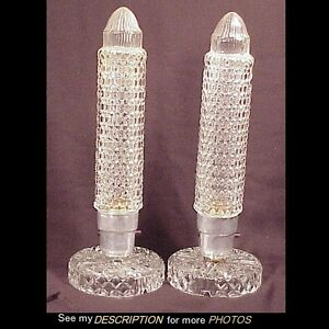 Image Is Loading Pair Art Deco Glass Skyscraper Cylinder Boudoir Lamps