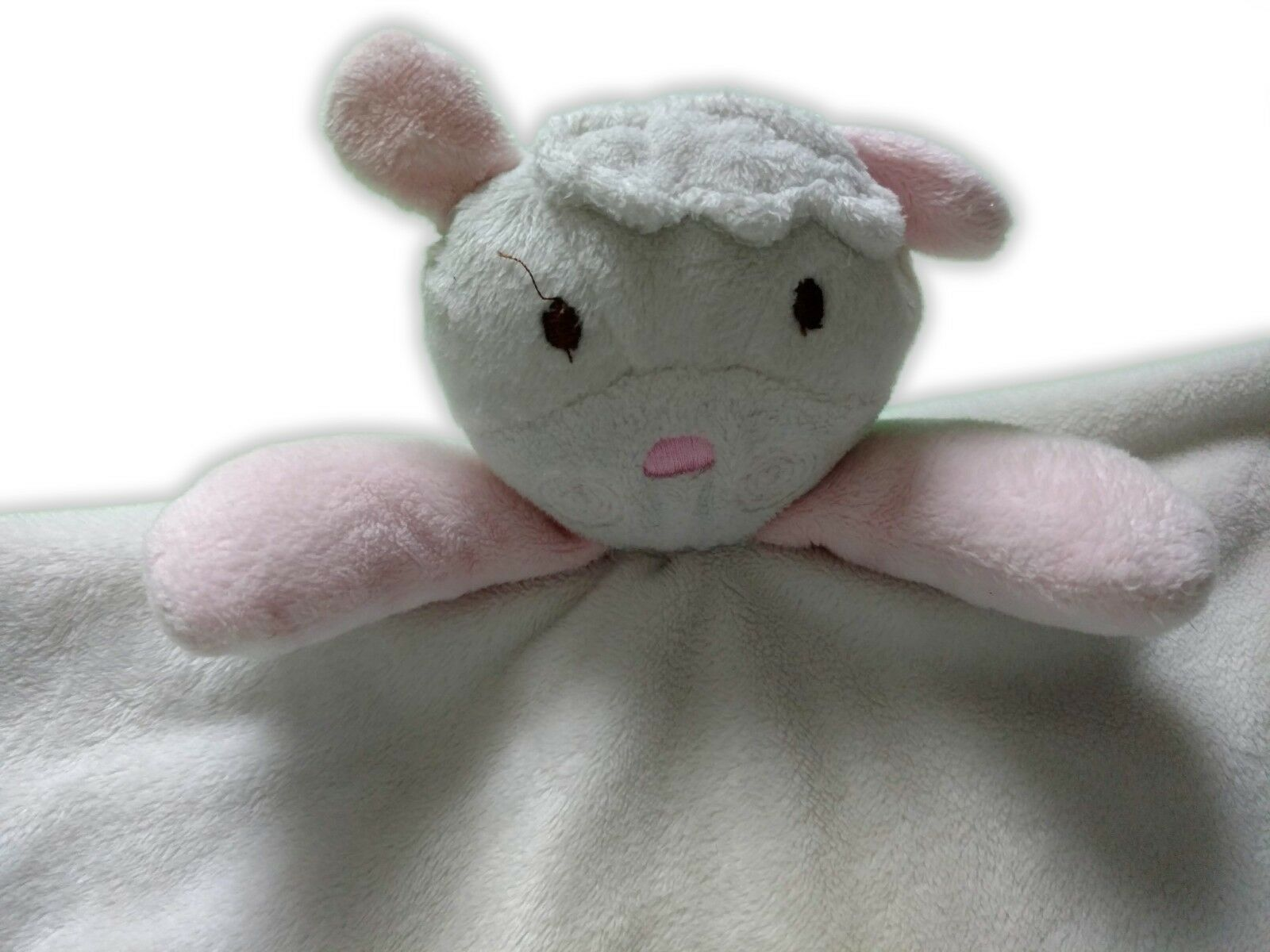 Vitamins Sheep Lamb Baby Security Blanket Ivory with Pink Satin Trim