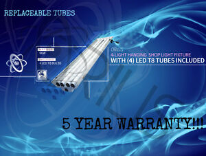 Grey 96W 4 ft 4 Warehouse Hanging Garage Shop Light Fixture LED T8 24W 4500K