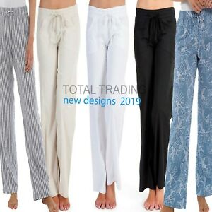 Ladies-Womens-Linen-Casual-Trousers-Summer-Pants-Bottoms-Holiday-10-to-24-r562