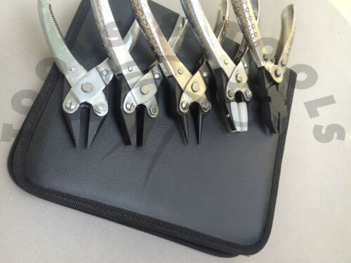 5 Piece Parallel Action Pliers Kit/ Set Jewellery Making Wire Work Crafts+ Pouch