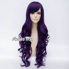 Anime 80CM Lolita Dark Purple Long Curly Party Cosplay Hair Wig Heat Resistant