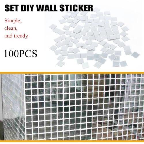 100Pcs Mosaic 3D Mirror Tile Wall Sticker Home Room Decor Stick