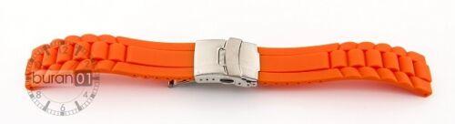 Uhrenarmband Silikon Wellen mit Faltschließe ROT 16mm,18mm,20mm,22mm,24mm NEU