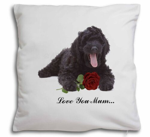 AD-LD2Rlym-CPW Labradoodle+Rose /'Love You Mum/' Soft Velvet Feel Cushion Cover W