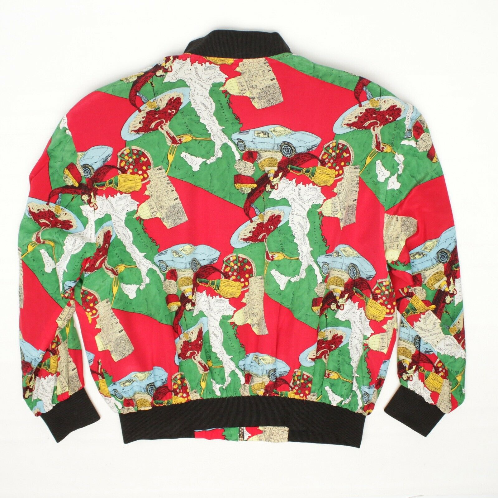 Silk Bomber Jacket L Red Green Italy Print Sports… - image 3