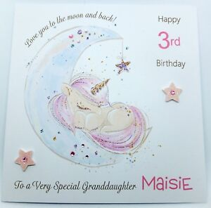 Image Is Loading Personalised Unicorn Birthday Card Granddaughter Daughter Niece Any