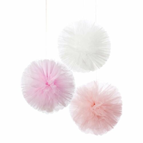 3 x Large Pastel Pink Fluffy Hanging Party decorations TULLE pom pom decor
