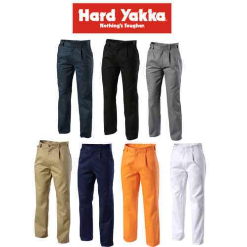 Mens Hard Yakka Foundations Trousers Pants Cotton Drill 310gsm Pleat Y02501