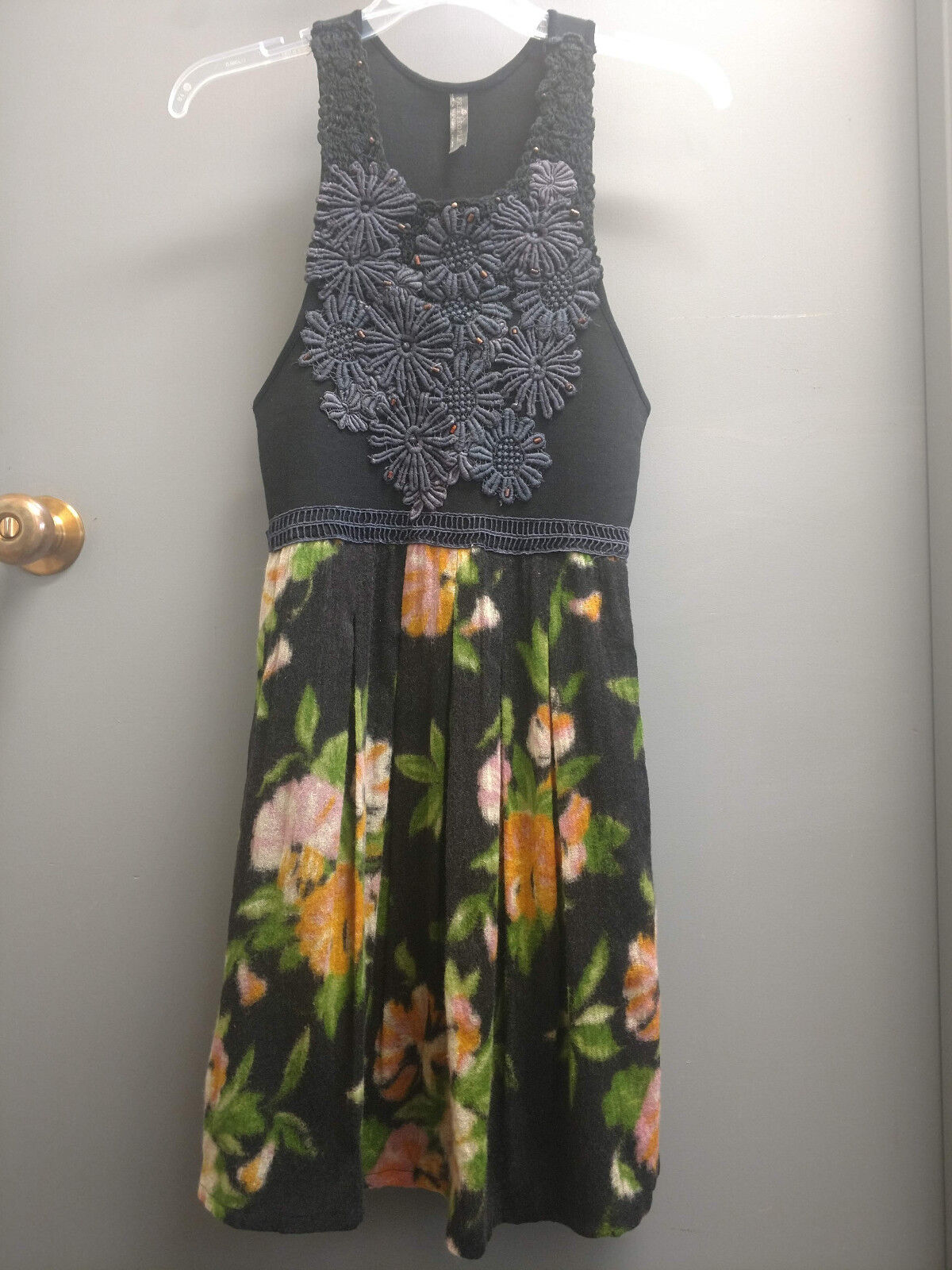 Free People dress, Dreamy Floral Patchwork, beaded, navy, NWOT, size Small, S