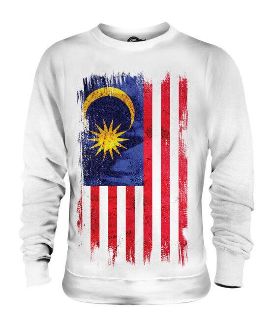 MALAYSIA GRUNGE FLAG UNISEX SWEATER TOP MALAYSIAN SHIRT FOOTBALL JERSEY GIFT