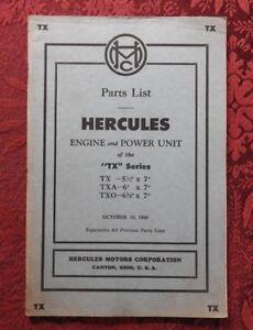 Details about GENUINE 1948 HERCULES TX TXA TXO GAS ENGINE & POWER UNIT  PARTS CATALOG MANUAL