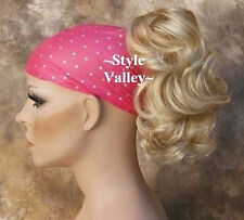 Blonde Mix Ponytail Extension Hairpiece short wavy Claw Clip in/on  Hair Piece
