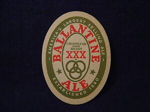 BALLANTINE-BEER-CARDBOARD-COASTER-VINTAGE-ORIGINAL-OVAL