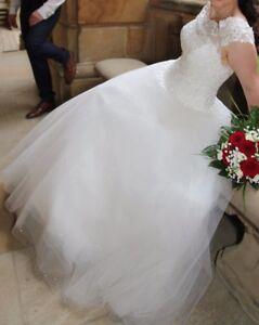 Brautkleid Carmenausschnitt A Linie Ivory 36 38prinzessin