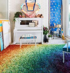 Image Is Loading Rainbow Shag Carpet Multi Color Area Rug Kids