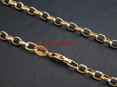 NEW Triple Hard Gold Plated Solid 925 Sterling Silver Oval Belcher Necklaces
