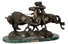 """Buffalo Hunt"" Pure American Bronzes Sculpture Statue by Remington Medium"
