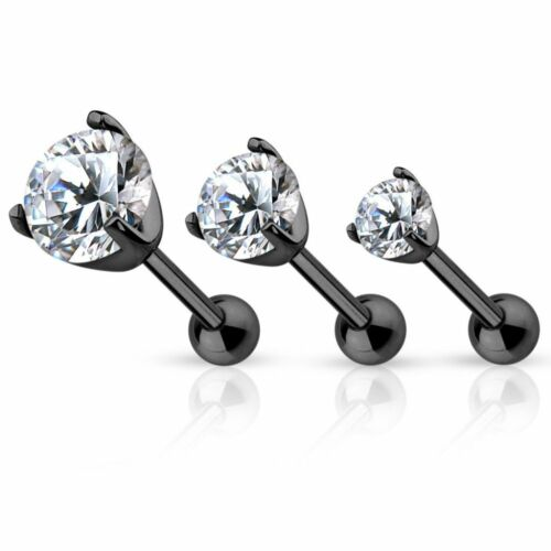 Piercing cartilage hélix noir gemme