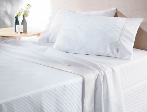 SHERIDAN 300 THREAD COUNT 100/% COTTON HOTEL WHITE STRIPE SHEET SET QUEEN SIZE