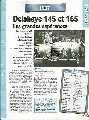 Voiture Delahaye 145 Et 165 Fiche Technique Auto 1937 Collection Car Lustro Incantevole