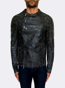 Herren Emporio Armani Laserschnitt Lammwolle Leder Jacke M EU48€ 2000
