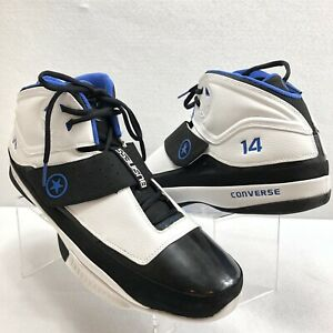 Converse-Men-039-s-Sneakers-N14-Basketball-Shoes-White-Black-Blue-Size-18-Mint