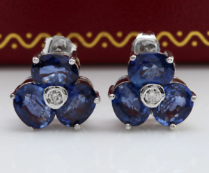 4.39 Carat Natural blueee Sapphire and Diamond 14K Solid White gold Stud Earrings