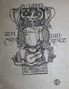 1898-1899-Ex-libris-Bookplate-Granville-Fell-Art-Nouveau-Una-May-Laurence