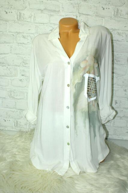 Italy Shirt Tunika Bluse Lochstickerei blau Gr 36 38 40 42 blogger Boho Style