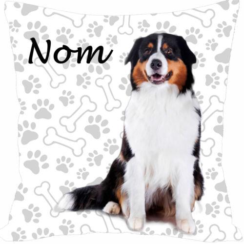 coussin carré satin chien bouvier bernois personnalisé prénom au choix réf 198