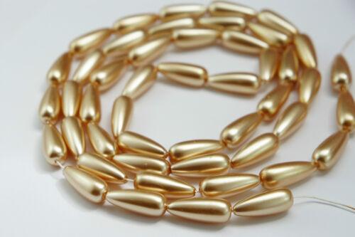 *48beads//strand 8x20mm Champagne Imitation Acrylic Tear Drop Loose Pearl Beads*