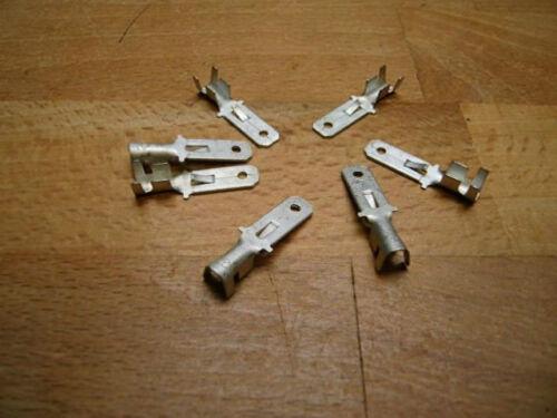 50 Flachstecker  6,3 unisoliert bis 2,5 mm² mit Rastnase Rastzunge