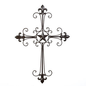 Image Is Loading Wrought Iron Lone Star Fleur De Lis Wings