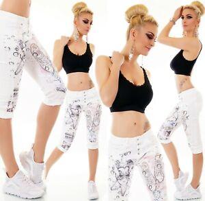 ITALY Damen Capri Jeans Hose Hüft Baggy Chino Prints Stretch Strass Nieten weiß