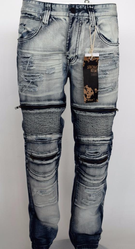 New Men's Smoke Rise Slim Straight Rip and Repair Moto Biker Ice Denim Jeans