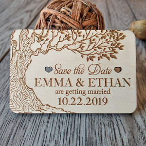 Personalized-Rustic-Wooden-Tree-Save-the-date-magnets-Wedding-favors-10PCS
