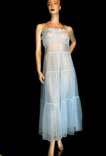 Vintage Double Chiffon Tiered Lingerie Dress Nigh… - image 1